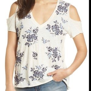NWT Lucky Brand szXL embroidered cold shoulder top